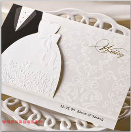 Wholesale wedding dress invitations - New Personalized Design White The Bride and Groom Dress Style Invitation Card Wedding Invitations Envelopes Sealed Card Top Quality