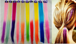 Wholesale Girls Hair Extension Clips - Newest women long straight hair pieces ombre color colorful Synthetic hair extensions hair clip decoration hairband girl hair jewelry