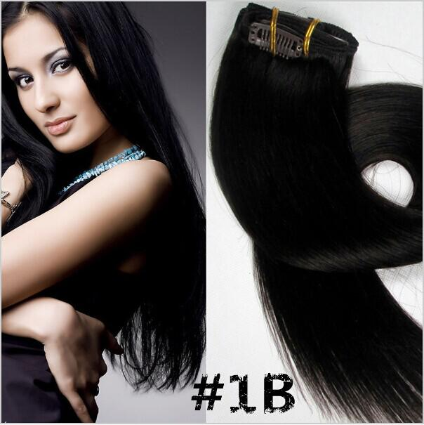 Wholesale 160gclip In Hair Extensions Indian Remy Human Hair Dark
