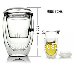 Wholesale Bodum Tea - Wholesale-Novelty gifts 2sets lot Bodum Double Wall Glass tea strainer 350ml,coffee tumbler,glass tea cups with lid and infuser