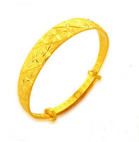 Wholesale 24k Gold Wedding Bangles - star exquisite 24k gold plated bracelet ,wedding Bangles size adjustable married Width 12mm