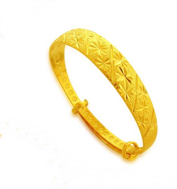 Sterne exquisite 24k vergoldet Armband, Hochzeit Armreifen Größe verstellbar verheiratet Breite 12mm