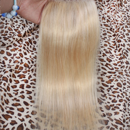 "Sale Human Remy Hair Extensions Canada - Top Lace Closure 613# Straight 4*4 inch 10""-18"" Brazilian Virgin Remy Human Hair Extensions Good Quality Best Price Qingdao Factory Sale"