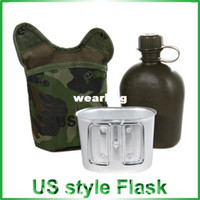 Wholesale Military Water Canteens Plastic - Wholesale-Quality Plastic DPM Pouch Water Bottle And Alloy Cup - Military Canteen (Digital CAMO)