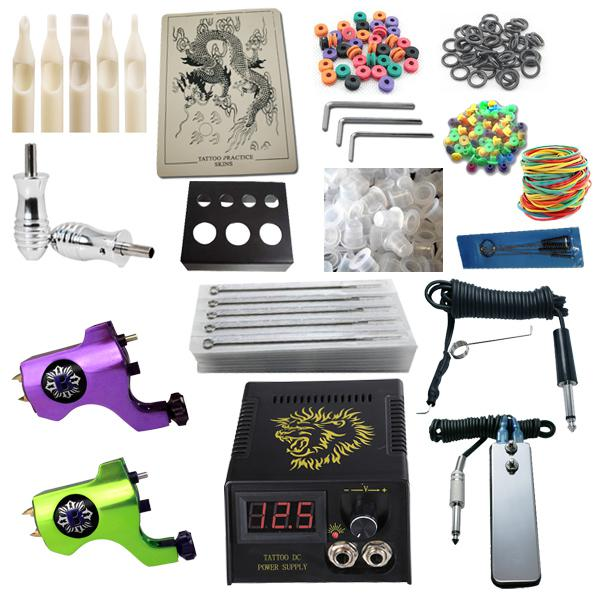 Top tattoo kit 2 bishop rotary machine guns power supply for Cheap tattoo kits amazon