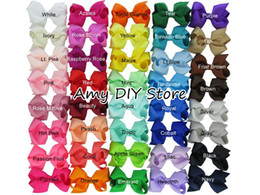 Wholesale Baby Ribbon Hair - 85pcs lot 3.3-3.5 '' Ribbon Bows with Clip,solid color bows clip,baby hair bow,boutique hair accessories girls hair clips HJ001+4.5CM