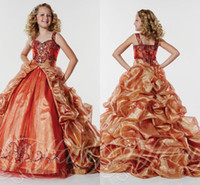 Wholesale Removable Train Prom Dress - Orange Appliques Beads girls Pageant Dresses Off the Shoulder With Removable sweep Train Ruffles Organza Tulle Prom Dresses For Girls WD309