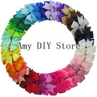 Wholesale Ribbon Pins - Hair accessorise 200pcs lot Hot Sale 40colors baby grosgrain ribbon pin wheel bows WITHOUT clip,Baby hair accessory boutique Bow,HJ004
