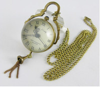 Wholesale Hanging Watch Necklace - Wholesale - 2016 Hot Sale Antique vintage Transparent ball bell hanging ear jewelry Pocket Watch Necklace Pendant watches men
