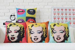 Wholesale Browns Plains Hotel - Free shipping Novelty Pop Art Marilyn Monroe portrait sexy lips pattern linen Cushion Cover home car cafe hotel decorative throw pillow Case