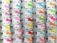 Wholesale Cute Cheap Acrylics - 30Ps lot Free shipping Promotion cheap white resizable finger children lovely cute hello kitty ring rings fashion jewellery JR3