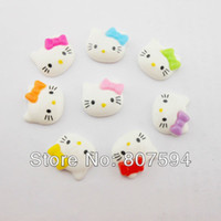 Wholesale Animal Resin Cabochons - free shipping! flat back resin dessert cabochons hello kitty 100pcs lot 19x17mm Jewelry findings\ Mobile phone DIY Accessory w11