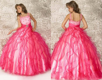 Wholesale Pageant Gowns For Sell - 2014 Square Neckline Beaded Red Beat selling designer Girls Pageant Dresses Floor Length Organza Pageant Dresses for girls ZZ104