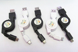 Wholesale asus data cable - 500pcs Lot Black White Micro USB A To USB 2.0 B Male Retractable Data Sync Charger Cable Cord For Samsung LG HTC Sony Google Moto ASUS