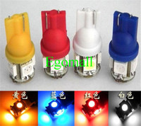 Wholesale 168 Led Red - T10 5 5050 SMD Bulbs Side Car LED Light 194 168 W5W 161 168 Wedge Xenon 12V White red blue yellow