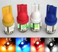 luzes led xenon para carros venda por atacado-T10 5 5050 SMD Lâmpadas Laterais Do Carro LEVOU Luz 194 168 W5W 161 168 Cunha Xenon 12 V Branco vermelho azul amarelo