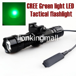 Wholesale Blue Led Driving Lights - USA EU Hot Sel WF-501B Torch 1-Mode Cree Q5 Green light LED Flashlight Tactical light with tactical mounts Remote switch