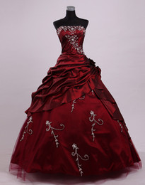 Vestidos Góticos Cosplay Baratos-2017 Wine Red Dracula Mina Movie Ball Prom Gown Vintage Gothic Victorian Cosplay Disfraces Masquerade Halloween Party Vestidos de noche