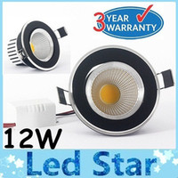 Wholesale Surface Mount Bright White Led - New (Black+Silver Shell) COB Led 12W Dimmable Led Ceiling Light Ultra Bright 150 Angle Cool Natural Warm White Led Downlights 110-240V