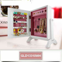 Wholesale Cabinet Desk Organizers - Wooden Jewelry Cabinet Jewelry Cosmetic Organizer Storage Box For Lady Jewelry,Necklace and Rings Free Standing on the Desk