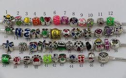 Wholesale Enamel Beads Big Hole - Hot ! 50 pcs Silver Plated Enamel Big Hole Loose Beads European Bead Fit Bracelets 4.5mm Hole 47 styles (z204)