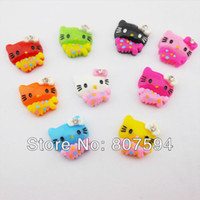Wholesale Mobile Phone Accessories Bling - flat back resin shiny bling hello kitty 100pcs lot 19x17mm Jewelry findings   Mobile phone DIY Accessory w10
