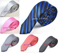 Wholesale Skinny Patterned Ties - New Arrive 5 Cm Mens Skinny Necktie 2 Inch Fashion Slim Narrow Pattern Slik Ties Free Shipping 5 PCS