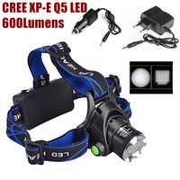 Wholesale Cree Zoomable Rechargeable Car - AloneFire HP79 CREE Q5 LED 600 Lumens Zoomable Rechargeable Headlight LED Headlamp CREE For 2x18650 Battery+Charger car charger