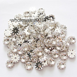 Wholesale Rondelle Large Hole - 50PCS per Lot 13mm Silver Flat Round Rondelle Spacer Rhinestone Large Hole Spacer Beads Jewelry Findings
