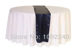 Wholesale Navy Satin Table Runner - WHOLESALE FREE SHIPPING 100% polyester NAVY BLUE satin table runner(12pcs lot) SIZE 35*180CM for wedding decoration