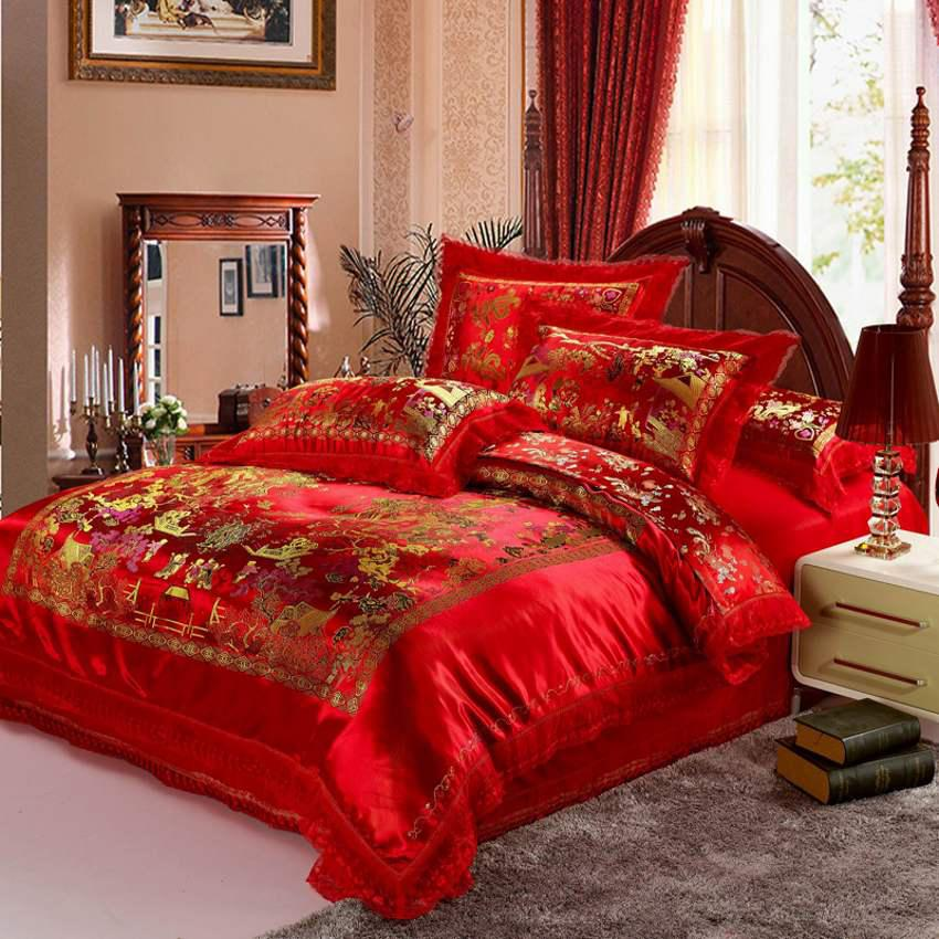 Red Satin Comforter Cover Set Dragon Chinese Wedding Bedding Set - Chinese dragon comforter set
