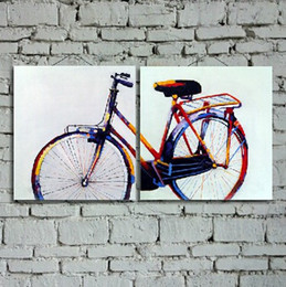 bicycle life NZ - 100% Hand Painted and Modern Abstract Bicycle Decorated Canvas Oil Painting Wall Decoration Art and Decoration Gift 2pcs set