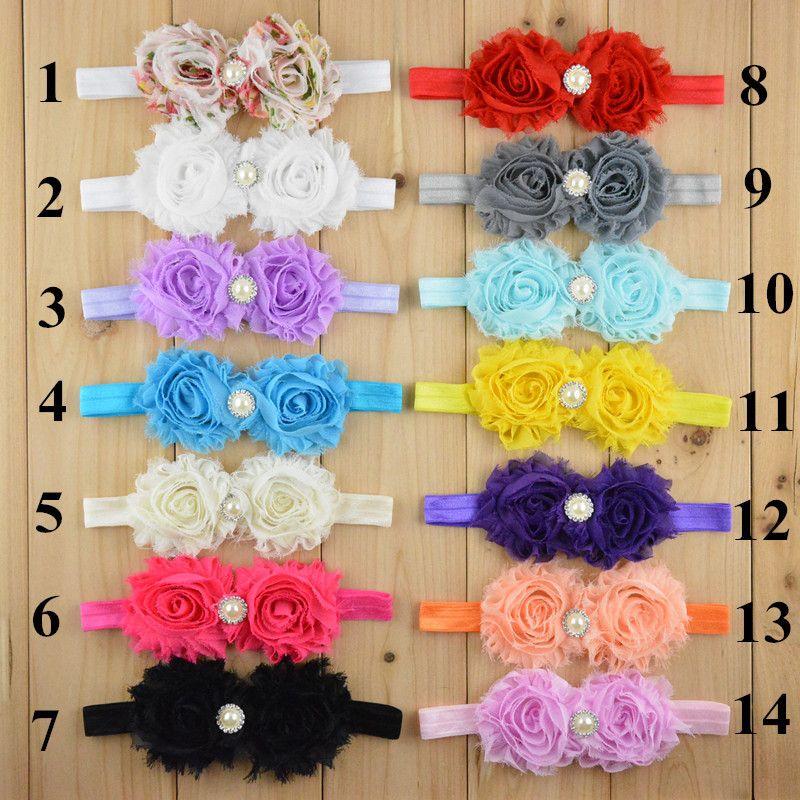 Sıcak Satış mix 8 renkler Bebek Bebek Saç Aksesuarları Gül Çiçek Inci Kombinasyonu Kızlar Saç Bandı Çocuklar Kafa Bebekler Toddler Kafa Bandı