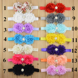 Wholesale Hot Rose Girls - Hot Sales mix 8 colors Infant Baby Hair Accessories Rose Flower Pearl Combination Girls Hair Band Kids Headband Babies Toddler Head Band