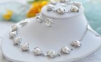 conjunto de colar de pérolas de água doce venda por atacado-New Fine Pérolas Jóias genuíno conjunto Natural branco barroco pulseira de pérolas de água doce brinco colar