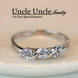 Wholesale Three Finger Diamond Ring - Classic Style!!! White Gold Color 0.25ct * 3 Pieces Austrian Zircon Lady Diamond Engagement Finger Ring Wholesale 18KRGP