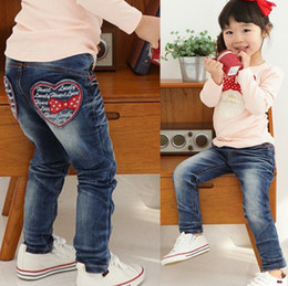 Wholesale Kids Bow Jeans - Hot sale~!Retail~ New style baby girl's Jeans, Children pants,kids girl's love letter design jeans, 1pcs lot