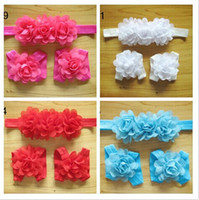 Wholesale Wholesale Baby Barefoot Headband Sets - Baby flower Barefoot Sandals and Headband sets Barefoot Sandals with 3 flower headbands Newborn Headband Accessory 10sets lot drop shipping