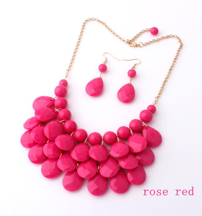 Wholesale -Jewelry Bubble Bib Statement Necklaces Choker Colorfull Resin Bead Necklaces For Ladies
