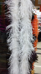 Wholesale Ostrich Feather Shawl White - 1ply White ostrich feather boa Marabou Feather Boa Wedding party costume shawl craft
