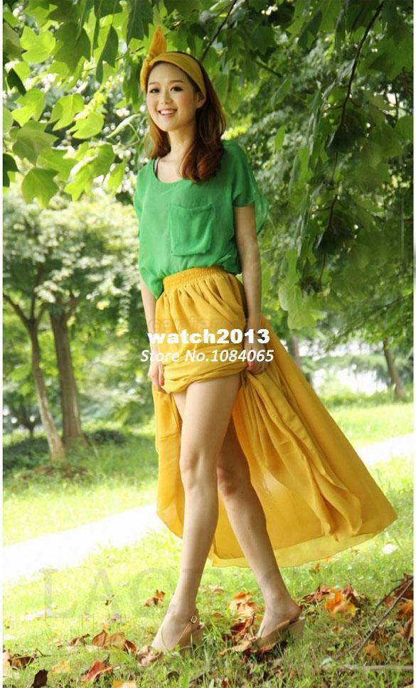 Wholesale-New Arrival! 2014 Sexy Ladies/women summer Clothing Chiffon Sheer Batwing Short Sleeve Loose Top Blouse b4 SV002162