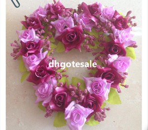 Wholesale Heart Shape Flower Pink Red Orange Purple Violet White Continental Artificial Silk Flowers Rose Heart Shape Garlands Wedding Shoot Props