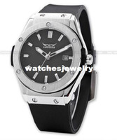 Wholesale Silicon Brand Wrist Watches - Wholesale-JARAGAR Brands Silver Stainless Steel Case Analog Automatic Mechanical Silicon Sports Mens Watches Wrist Watches With Date A389