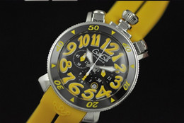 Wholesale Gaga Watches Italy - unisex Luxury top brand men Chronograph Quartz chrono casual Watches GaGa MILANO italy yellow rubber band stainless date mens man wristwatch