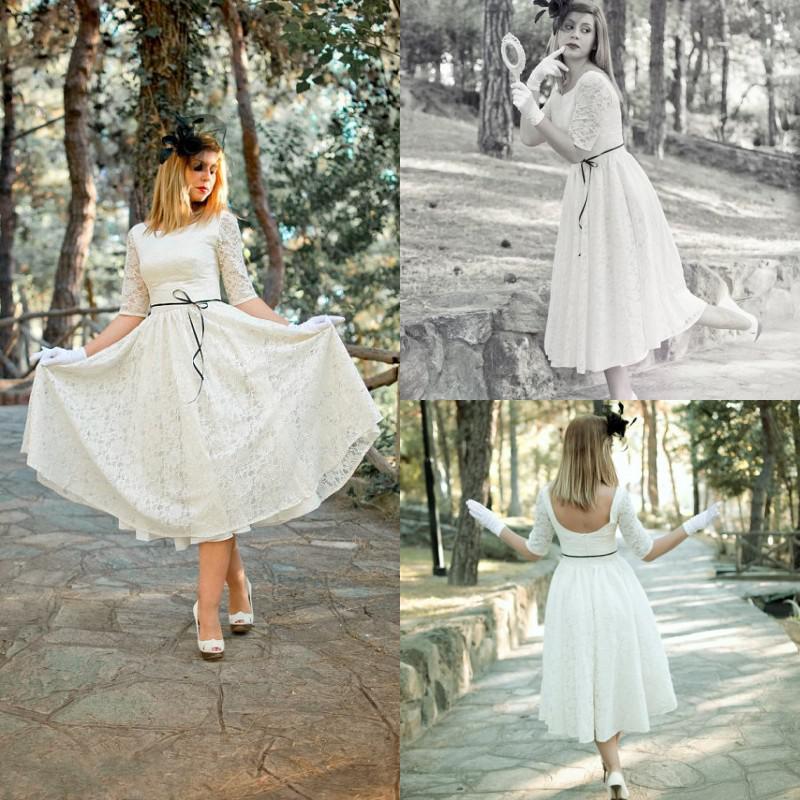 Discount Ivory Cream 50s Wedding Dress Full Skirt Original Style Bridal Tea Length Half Sleeves Hollow Back Lace Gowns Em02072