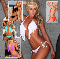 moda saf mayo toptan satış-2016 Moda Seksi Kadınlar Bikini Yeni Plaj Püsküller Bikini Sheer Seksi Mikro Bikini Yetişkin Bayanlar Mayo Beachwear Banyo mayo BK1