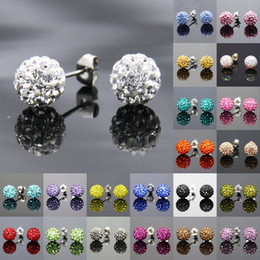 Wholesale Shamballa Stainless Steel Beads - 6MM 8MM 10MM 12MM Fashion Shamballa Beads Earrings(20pieces 10pairs),Bottom Fitting Is 316 Stainless Steel Shambala Stud Earrings Jewelry