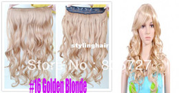Wholesale Golden Blonde Hair Extensions - Wholesale-In 2013 the new style Easy Clips One Piece with 5 Clips in on Synthetic Hair Extension 22 inch #16 Golden Blonde Color