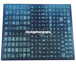 diseños de sellos de metal Rebajas Al por mayor-XXL Nail Art Stamping Plate acero inoxidable 304 30.6X25CM tamaño grande 4 diseños para la elección de metal estampado de uñas arte topwin