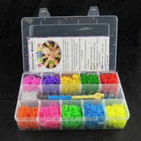 Wholesale Loom Bands Kit Clear Box - Newest rainbow loom bands kit Bracelet clear plastic box for Kids DIY bracelets -come with 3000pcs rubber bands, 100 clips, 1 hook 50pcs